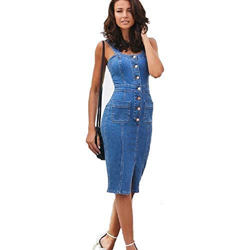 HX fashion Spijkerjurk Dames Zomer Clubwear Riemjurk Met Knoopsluiting Feestjurk Bodycon Comfortabele maten Wikkeljurk Met 2 Zakken (Color : Marineblau, One Size : S)