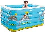 wsbdking Piscina inflable familiar, piscina azul rectangular de la sala de estar para bebé, niño, adulto, niños pequeños para edades 3 +, al aire libre, jardín, patio trasero, fiesta de agua, 145 x 10