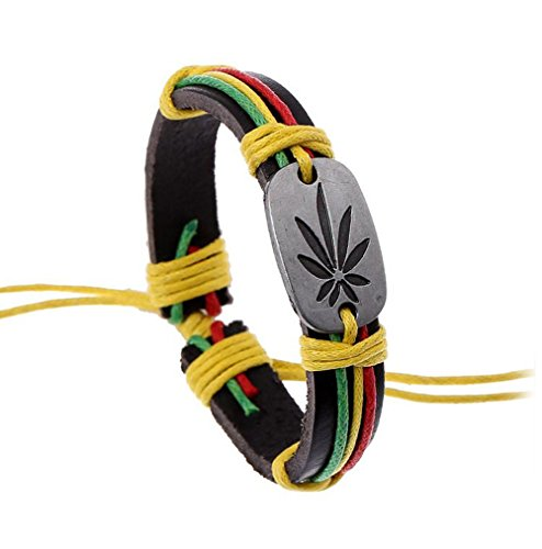 Gudeke HipHop Medizinisch Marihuana Weed Blatt Cannabis Leder Geflochtene Seil Armband Armreif für Männer resizable