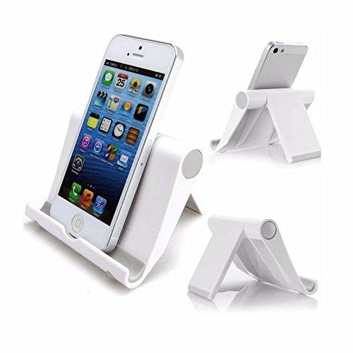 Soporte para teléfono o smartphone con soporte multiposición para iPhone, Samsung, Google Nexus y otros teléfonos o tablets incluidos Nintendo Switch | Color blanco