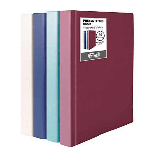"""Dunwell Binders with Plastic Sleeves - (Assorted 4 Colors, 4 Pack), 60-Pocket Bound Presentation Books with Clear Sleeves, Displays 120 Pages of 8.5x11"""" Inserts, Portfolio Folder with Plastic Sleeves"""