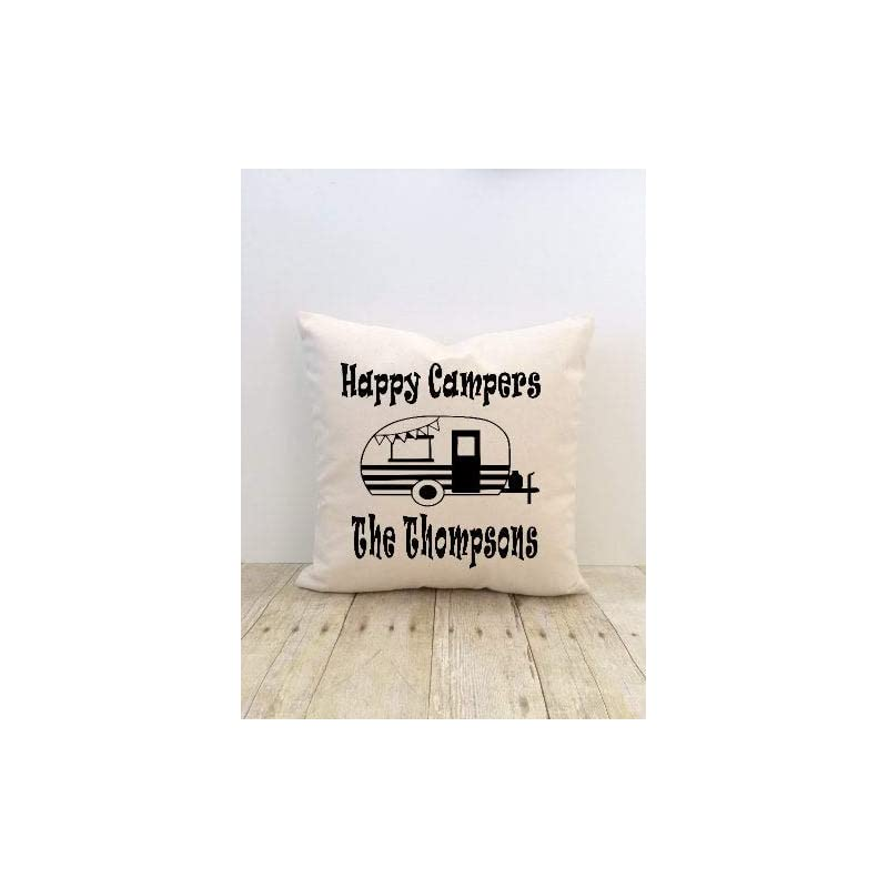 crib bedding and baby bedding dkisee happy campers pillow cover, personalized, custom, camping, outdoors, rv, camper, trailer, wilderness, adventure, summer, nature, woods
