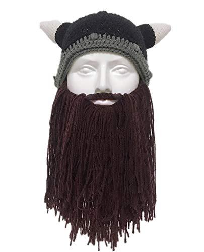 Barbarian Beard Beanie Strickmütze und Untersetzer aus Kunsthandwerk, kreativ, originell, lustig, Kaffee, Einheitsgröße