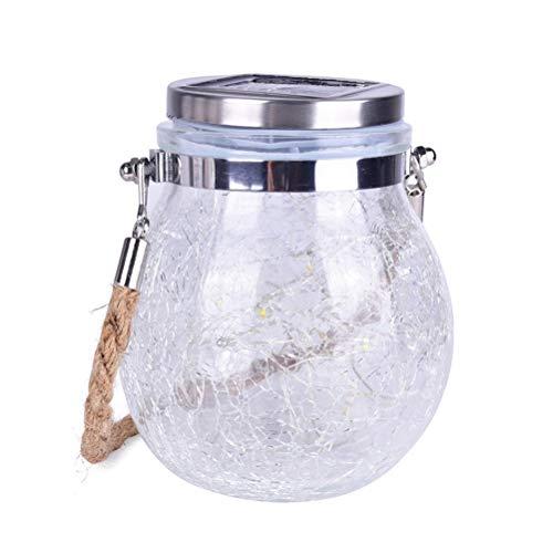 Uonlytech - Lámpara LED solar de 3 m, 30 ledes, con forma de bola, alambre de cobre, lámpara de cristal, para exterior, jardín, césped, decoración (luz blanca cálida), Picture 2., 12.5*12.5*14.5cm
