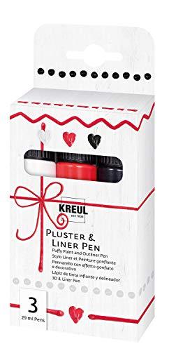 Kreul 49830 - Pluster & Liner Pen 3 x 29 ml in weiß, erdbeere und schwarz, Plusterfarbe zum Dekorieren und Verzieren, 3D Dekoeffekte durch Aufplustern im Backofen, mit Bügeleisen oder Fön