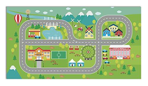 Panorama Alfombra Vinílica Carretera para Niños 80x150 cm - Alfombra Infantil Vinilo - Alfombra Salón Antideslizante, Antihongos e Ignífuga - Alfombras Grandes - Alfombras PVC