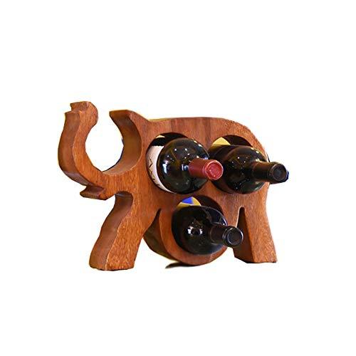 GS Botellero Porta Botellas De Vino De Madera Botellero Decorativo De Sobremesa for Botella De Vino Forma De Elefante Soporte De Exhibición Decoración De Manualidades for Decoración De Bar Y Cocina