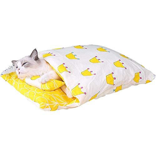 Gato saco de dormir extraíble mullido invierno cerrado Catos de gato con almohada antideslizante súper invierno cueva cueva cueva cueva cave saca manta madre pequeña mascota cama para perros gatos gat