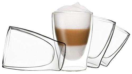 DUOS 4X 310ml Set doppelwandige Gläser Latte mit Schwebe-Effekt by Feelino