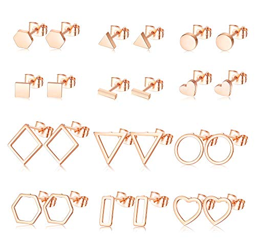 Milacolato 12 Paia Di Orecchini Geometrici Minimalisti Per Le Donne Semplici Orecchini a Forma Di Rombo Esagonale Triangolo Bar Cuore Cerchio Orecchini Set