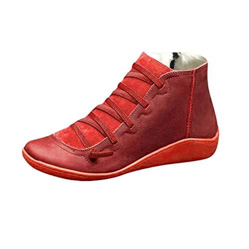 Yowablo Boots Damen Casual Flache Leder Retro Schnürstiefel Seitlicher Reißverschluss Runde Kappe Plus Samt (38 EU,Plus Samt-rot)