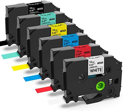 6X MarkField Nastro per etichette compatibile Sostituzione per Brother P-touch 12mm 0,47 per PT-1000 1080 1280 PT-H100LB H100R PT-H105 H108 PT-E100 PT-D200 P700 Cube TZe-231 431 531 631 731 335