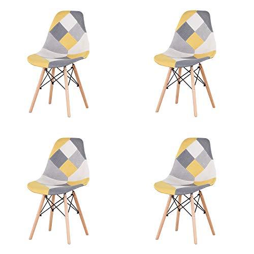 GrandCA Pack de 4 Sillas de Comedor de Patchwork, Sillas de Sala de Estar de Ocio Sillas con Respaldo de cojín Suave (Amarillo)