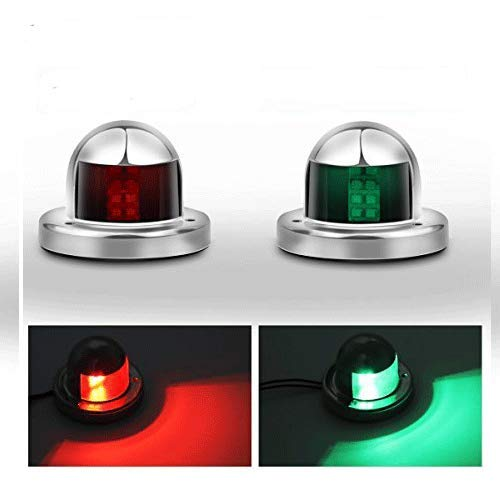 Powstro Boat Yacht LED Light, 2pcs Green and Red Marine 12V Stainless Steel Bow Navigation Lights