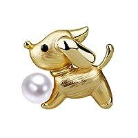 子犬動物パールブローチ、パールボールブローチかわいいクリスタル子犬犬