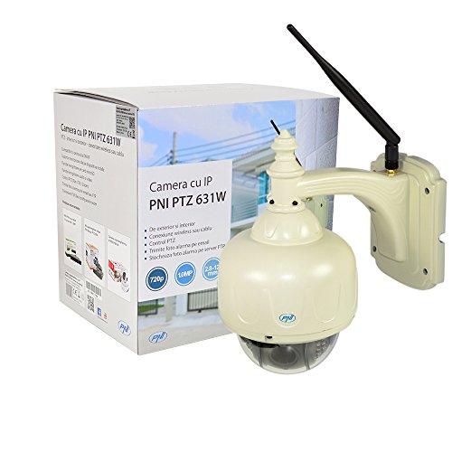 PNI IP631W dome-videobewakingscamera met PTZ-buiten- en draadloze kabelaansluiting, bevat microSD-slot