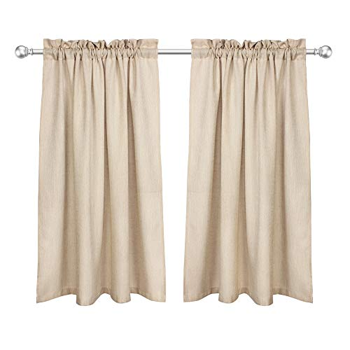 VOILYBIRD Barras Natural Linen Privacy Short Curtains for Kitchen Windows 45 Inch Length Panels for Bathroom Rod Pockets Top (Tan, W42 x L45, 1 Pair)