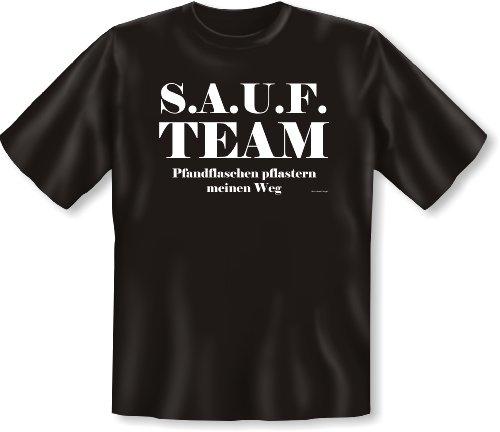 Witziges Spruchshirt Sauf Team – Pfandflaschen pflastern meinen Weg T-Shirt Gr: 5XL Farbe: schwarz