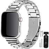 Fullmosa Cinturino per Apple Watch 42mm/44mm, Cinturino in Acciaio Inossidabile Compatibile con iWatch, Cinturini per Apple Watch Serie SE 6 5 4 3 2 1, Argent