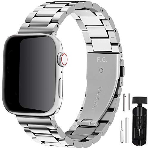 Fullmosa Für Apple Watch Armband 44mm/42mm und 40mm/38mm, Rostfreier Edelstahl Ersatzband für iWatch/Apple Watch Series SE/6/5/4/3/2/1 44mm/42mm Silber