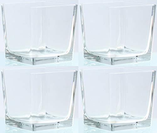 Novaliv Teelichtglas eckig 14cm Glastopf klar Kerzenhalter Tischdekoration