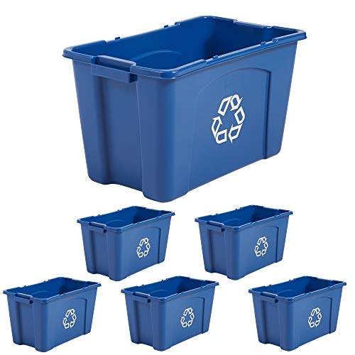 Rubbermaid Commercial Products Recycling Box/Bin, 18 Gallon, Blue (Pack Of 6)