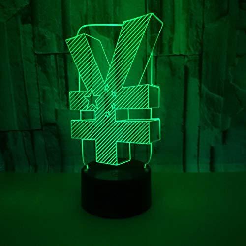 Yujzpl 3D-illusielamp Led-nachtlampje, USB-aangedreven 7 kleuren Knipperende aanraakschakelaar Slaapkamer Decoratie Verlichting voor kinderen Kerstcadeau-symbool van munteenheid