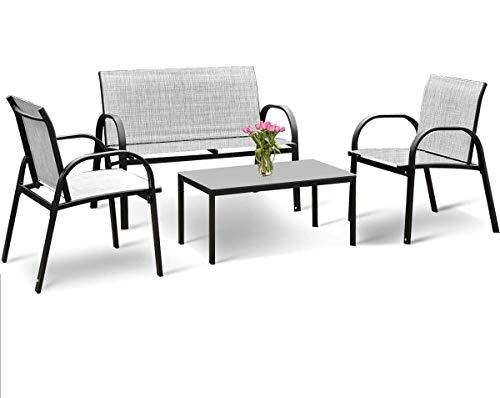 DREAMADE Set di Mobili in Textilene e Metallo Verniciato, Set di 4 Pezzi da Esterno Moderno ed Elegante, con Tavolino in Vetro, 2 Sedie e Panchina, Ideale per Giardino, Cortile e Terrazzo (Grigio)