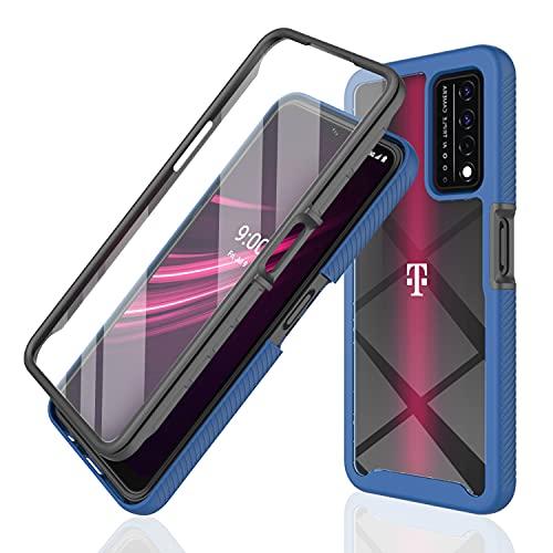 Revvl V+ 5g Case with Screen Protector Full Body Protection Shockproof Phone Case for T-Mobile Revvl V Plus 5g Rugged Front Cover + Soft Back Cover (Navy Blue)