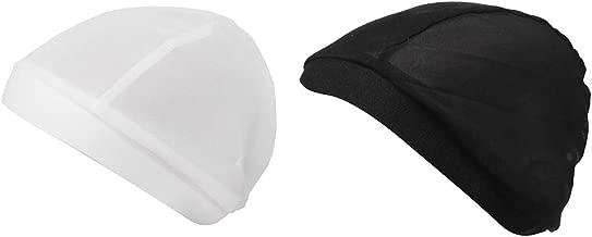 CUTICATE 2 Pack Super Elastic Mesh Net Beanie Turban Hat Chemo Cap Hair Loss Headwraps Bonnet Muslim Hijab for Women and Men, Black+White
