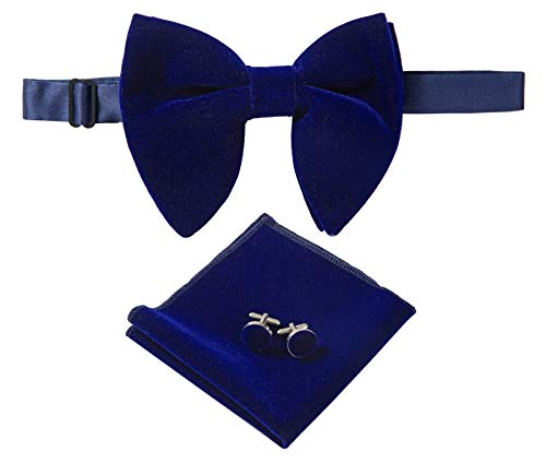 Lovacely Mens Pre-Tied Oversized Velvet Bow Tie Vintage Tuxedo Big Bowtie & Cufflinks & Pocket Square Sets with Gift Box Navy Blue