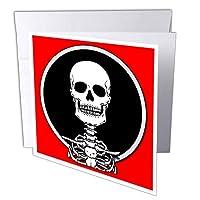マークグレースゾンビ生存者たちスケルトン–スケルトンスカル1onレッド–グリーティングカード Set of 6 Greeting Cards