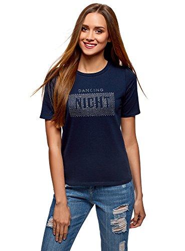 oodji Ultra Mujer Camiseta de Algodón con Decoración de Pedrería Metálica, Azul, ES 36 / XS