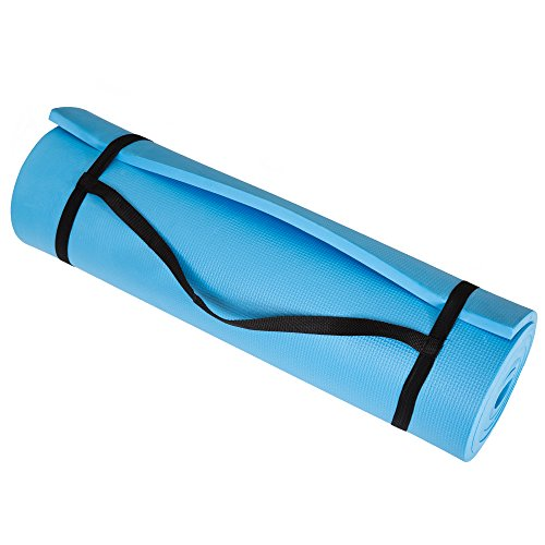 Extra Thick Yoga Mat- Non Slip Comfort Foam, Durable Exercise Mat For Fitness, Pilates and Workout With Carrying Strap By Wakeman Fitness (Light Blue)