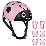 LANOVAGEAR Kids Bike Helmet Knee Elbow Pads, Ages 3-8 Toddler Helmet with Protective Gear Set 7PCS, for...