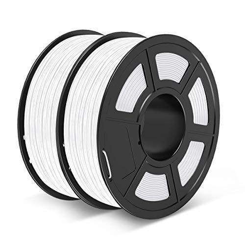 PETG Filament 1.75mm, JAYO PETG 3D Printer Filament 2kg Spool, Accuracy +/- 0.02 mm, Stable Output Fit Most FDM Printers, PETG White+White
