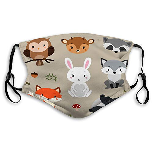 Great Price! Xunulyn Mouth Shield Anti Dust Shield Various Use Woodland Animals Set Travel Cover