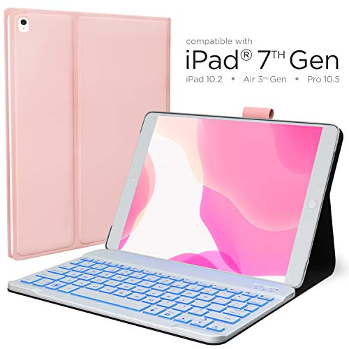 iPad 7th Generation Case with Keyboard - Compatible with iPad 10.2, iPad Air 3, iPad Pro 10.5 - Backlit, Wireless, Smart Keyboard Folio for Apple iPad - iPad 10.2 Keyboard - Rose Gold
