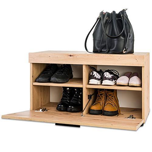 COSTWAY Banco Zapatero Gabinete de Almacenamiento Estante para Zapato para Hogar Oficina Pasillo Entrada 80x45x34cm