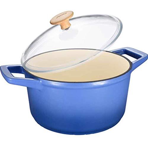 Cocina artesanal Esmalte Sopa Leche Bandeja Visible Biauricular Multifunción Fuego abierto Dedicado Olla de sopa 22cm Suplemento de comida para bebés olla (color : A)