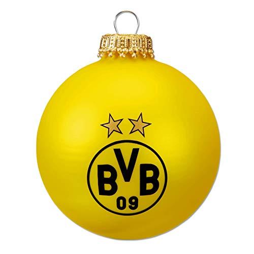 Borussia Dortmund Unisex– Erwachsene BVB-Christbaumkugeln schwarzgelb (4er Set) Dekoration, schwarz/Gelb, one Size