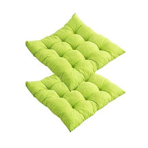 Weiche Sitzkissen für Garten- und Esszimmerstühle, mit Bindebändern, einfarbig, quadratisch, dekoratives gepolstertes Kissen für drinnen und draußen, Büro, 40 cm x 40 cm (grün, 2 Stück)