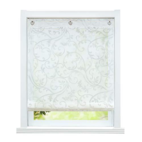 ESLIR Raffrollo ohne Bohren Raffgardine mit Ösen Gardinen Küche mit U-Haken Ösenrollo Halbtransparent Modern Weiß BxH 100x140cm 1 Stück