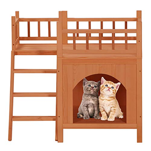 Cat Washroom Storage Bench,Litter Box Cover with Sturdy Wooden Structure,Indoor Outdoor Spacious Storage with Fences ladders,Fit Most of pet Litter Box-Orange 29x21x26 in