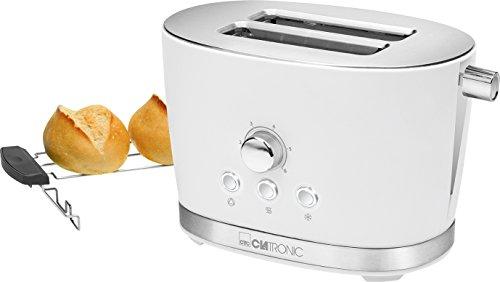 Clatronic TA 3690 2-Scheiben-Toaster mit Brötchenaufsatz, Krümelschublade, Auftaufunktion, Aufwärmfunktion, Schnellstoppfunktion, Weiß