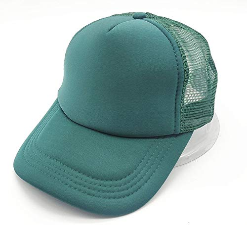 Polister Hombres Mujeres Gorra de bisbol Malla Snapback Imprimir Logo Sombrero de Camionero-Full Dark green-1-48-52(Kids)