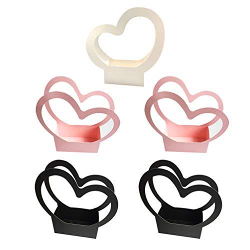 STOBOK 5 Unidades de Cajas de Regalo para Ramo de Flores Cajas de Regalo de Papel con Forma de Corazón Bolsas de Embalaje para Ramo de Flores Cubo para Abrazar Flores con Asa (Color