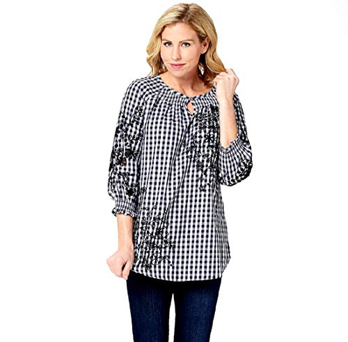 Isaac Mizrahi Live! Gingham Top with Embroidery, Black, Plus 22W Isaac Mizrah...  via @amazon