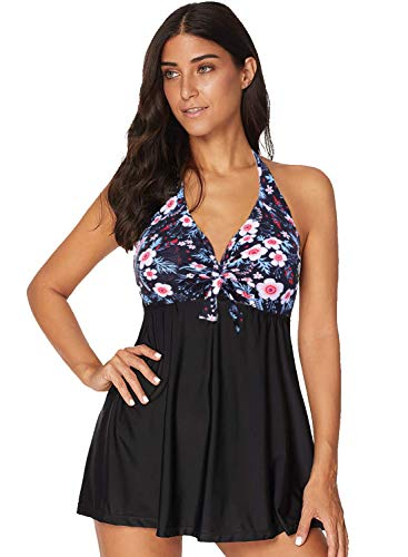 ALICECOCO donna Pin-up Bikini Set Halter costumi da bagno un pezzo con gonna integrato (EU 48-50, Fiore)