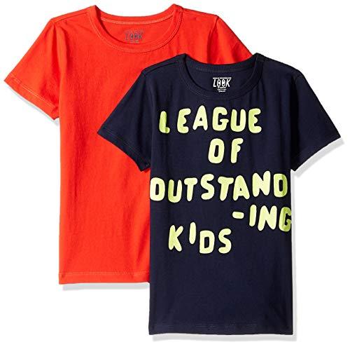 LOOK by Crewcuts - Camiseta de manga corta para niño, estampado/liso (2 unidades), Red/ Navy League of Outstanding Kids, 4-5